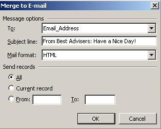 Final mail merge window
