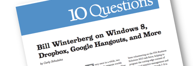 Bill Winterberg 10 Questions