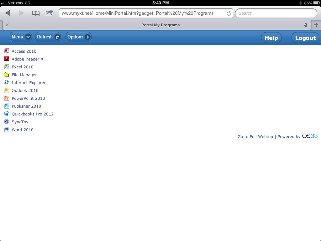 The mobile optimized External IT dashboard, viewed on an iPad