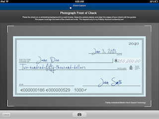 Snap photos of checks and deposit them using the Fidelity WealthCentral Mobile app